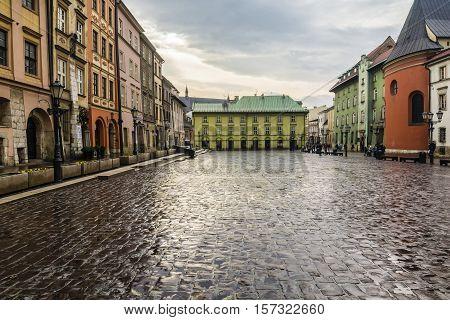 Small Market Square In Krakow.