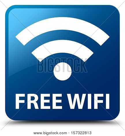 Free wifi blue (hotspot icon)  square button