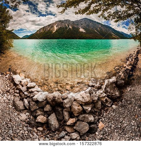 Wide View Of The Lake Plansee, Austria