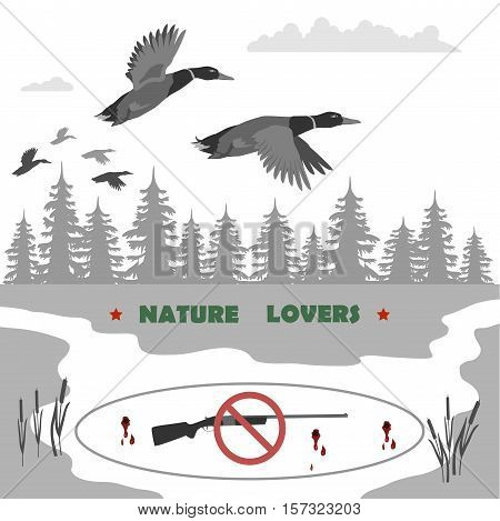 flying ducks and clouds. away forest and reeds. Rifle banned. totally vector illustration.