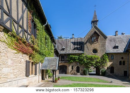 Orval Abbey in Belgian Ardennes. The abbey is famous for its trappist beer botanical garden and ruins