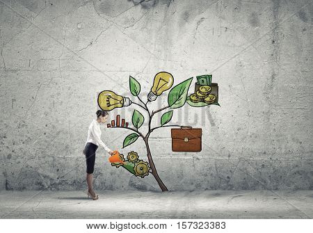 Young businesswoman on concrete background watering growing sprout with can