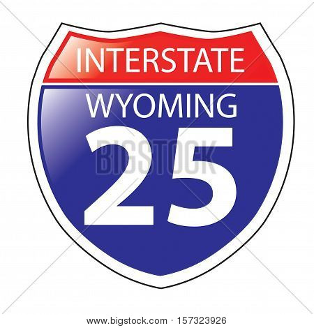 Layered artwork of Wyoming I-25 Interstate Sign