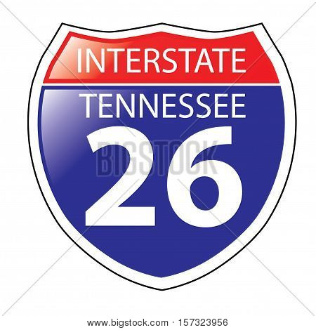 Layered artwork of Tennessee I-26 Interstate Sign