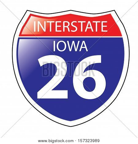 Layered artwork of Iowa I-26 Interstate Sign