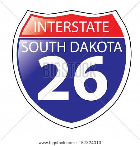 Layered artwork of South Dakota I-26 Interstate Sign
