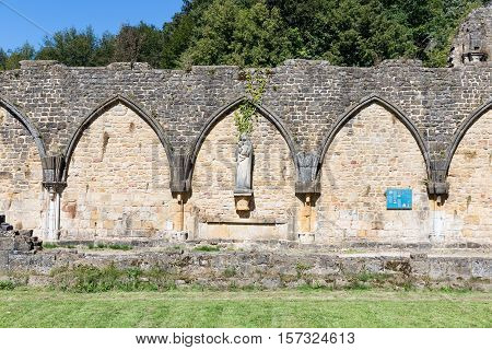 Ruins Orval Abbey in Belgian Ardennes. The abbey is also famous for its trappist beer and botanical garden