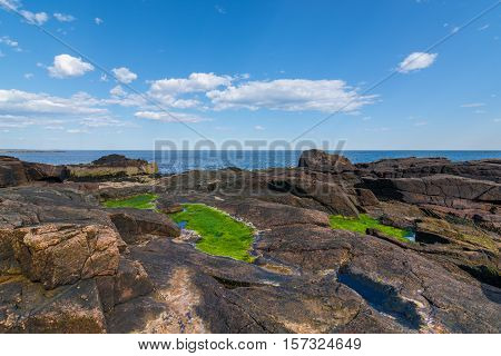 View of the rocky cliff shore line at Acadia National Park. Maine New England