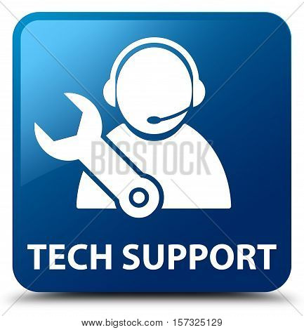 Tech support (customer care icon) blue square button