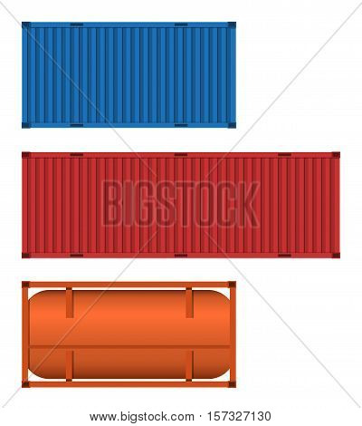 Set of container and tank in flat style. Shipping container and cistern icons. Vector illustration.