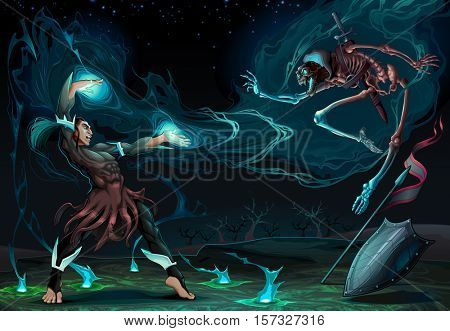 Fighting scene between magician and skeleton. Fantasy vector illustration