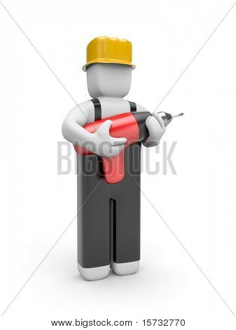 Worker hold a drill
