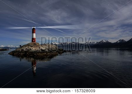 Lighthouse Les eclaireurs in Beagle Channel near Ushuaia in the night