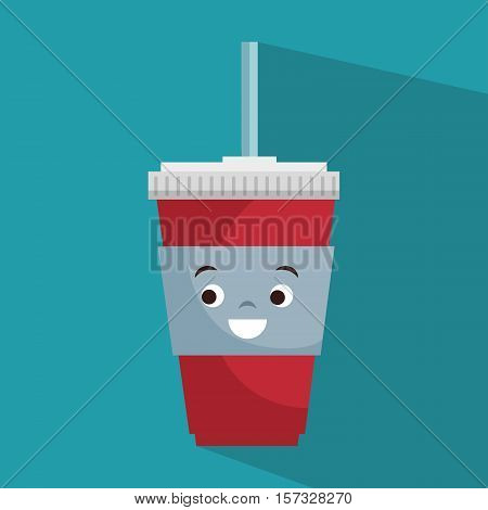 cartoon cup plastic soda with straw vector illustration eps 10