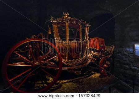 STOCKHOLM, SWEDEN - JUNE 28, 2016: This is royal coach in the hall of royal carriages of the Armory (Livrustkammaren) at the Royal Palace.