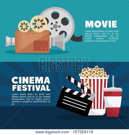 movie cinema festival banner info design vector illustration eps 10