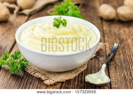 Mashed Potatoes (selective Focus) On Vintage Wooden Background