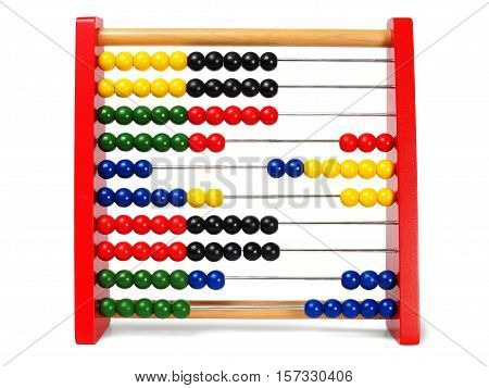 Wooden educational abacus isolated on white background