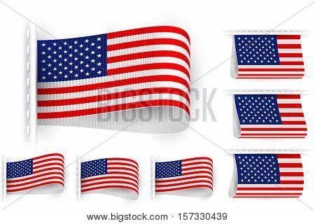 National state flag of United States of America; Sewn clothing label tag; Vector icon set USA flags Eps10