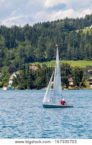 Sailboat on lake Worthersee in Carinthia, Austria