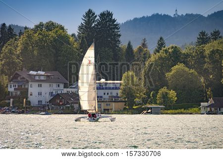 Sailing On Worthersee, Carinthia, Austria With Trimaran