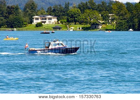 Police Boat Patrolling On Lake Worthersee