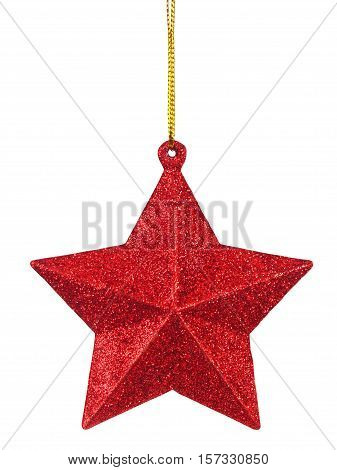 Christmas star bauble hanging on white background