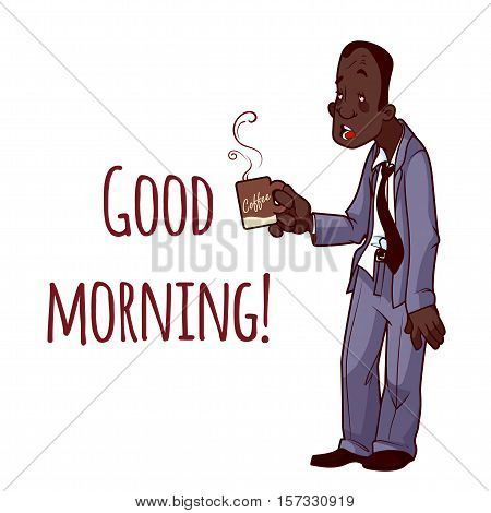 Sleepy African American man in suit with a cup of coffee. Good Morning. Vector illustration on a white background.