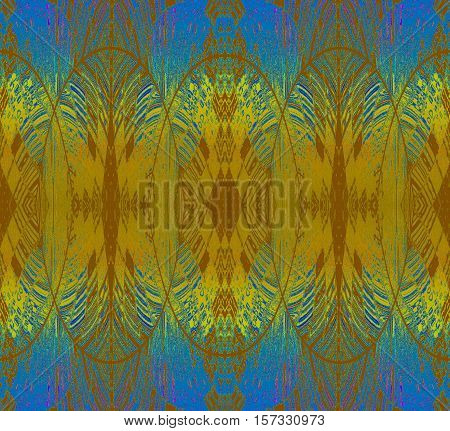 Abstract geometric seamless background. Regular oval ornaments yellow, gold, ocher brown and azure blue.