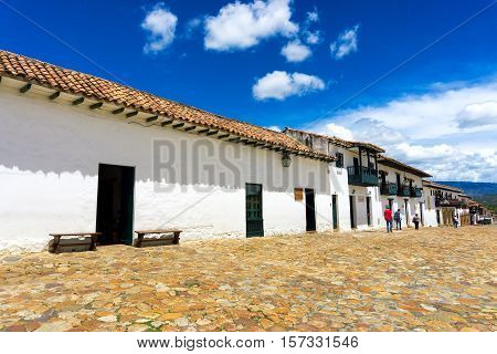 VILLA DE LEYVA COLOMBIA - APRIL 29: View of a cobblestone colonial era street in Villa de Leyva Colombia on April 29 2016