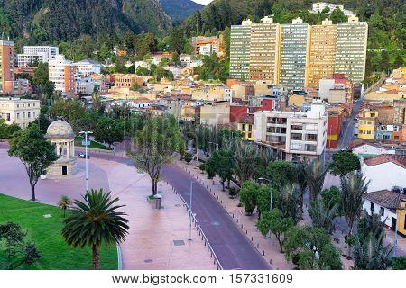 Bogota Colombia with a view of a plaza known as Parque de los Periodistas