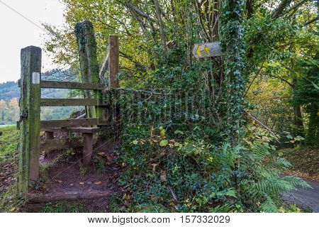 Old Wooden Stile - stiles are common to cross field boundaries on footpaths in the United Kingdom.