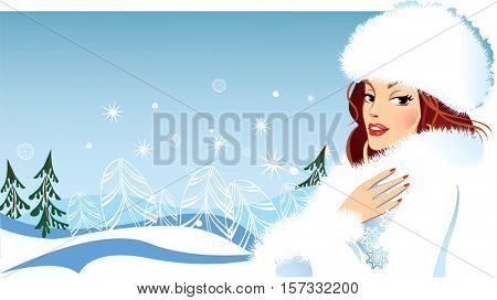 fashionable girl in winter clothes in fluffy hat, fashion female, woman beauty face