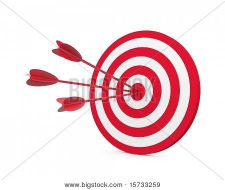 红色和白色的目标有三个箭头