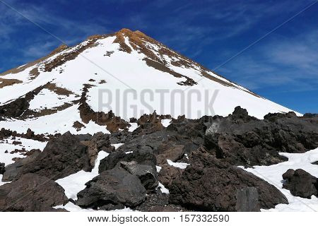 Mountain top of Volcano Teide, Tenerife. Snow covered in winter. Pico del Teide, Tenerife, Canary Islands,