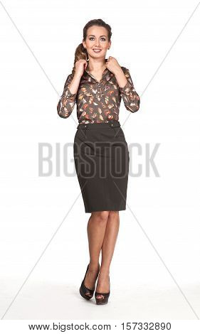 woman in official print blouse skirt high heel shoes. full length body portrait isolated on white