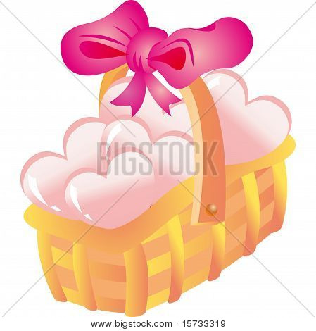 Basket with hearts. Vector