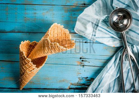 Traditional Waffle Cones And Ice Cream