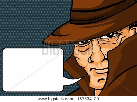 Gangster in the pop art style hints at the shot. Vector illustration.
