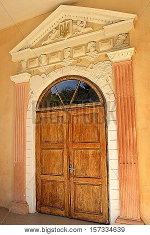 old doors attraction of the city in Ukraine