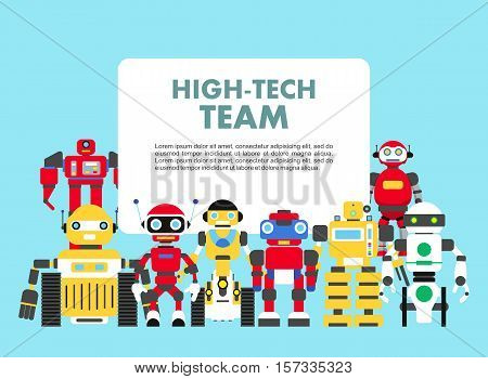 Group of abstract robots isolated on blue background. Set of diverse robots standing together.