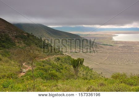 The Ngorongoro Conservation Area is a protected area and a World Heritage Site located 180 km west of Arusha in the Crater Highlands area of Tanzania. The area is named after Ngorongoro Crater, a large volcanic caldera within the area