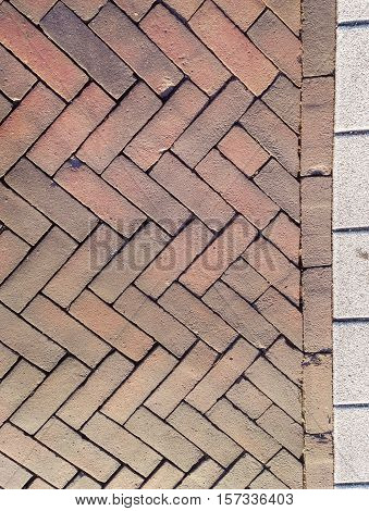 Brick Herringbone pedestrian roadway Amsterdam city, Netherlands