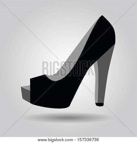 Single black women peep toe high heel shoe icon on gray gradient background
