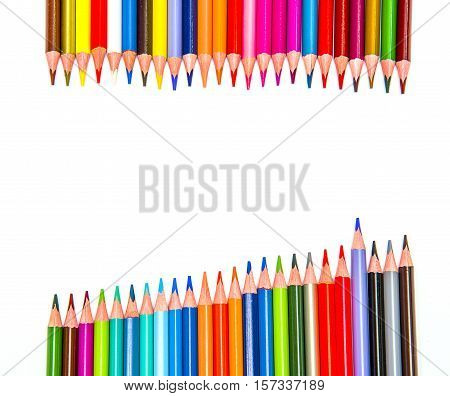 colored pencils on white background colored group multi