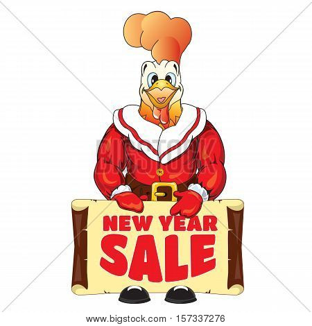 Vector illustration of rooster in clothing Santa Claus with a banner with an inscription New Year Sale