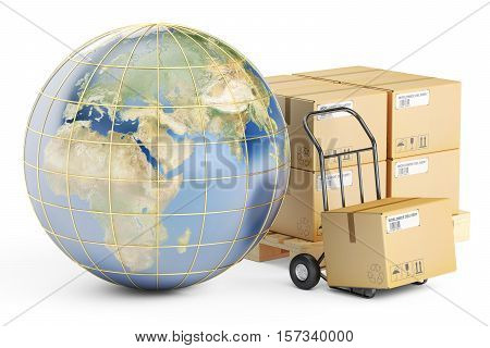 Global shipping and delivery concept parcels cardboard boxes and Earth. 3D rendering isolated on white background