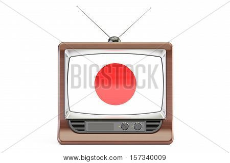 Old TV set with flag of Japan. Television concept 3D rendering isolated on white background