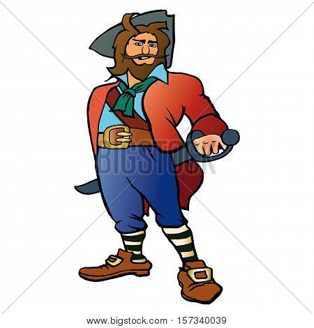 Horrible armed pirates. The leader of the pirates. The historic character.