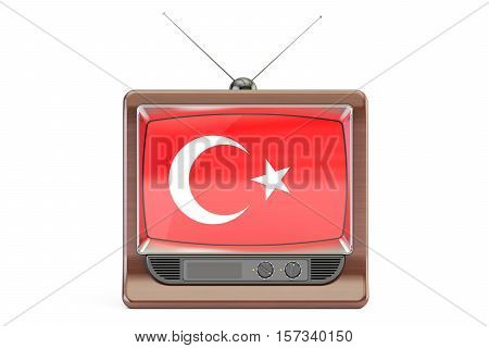 TV set with flag of Turkey. Turkish Television concept 3D rendering